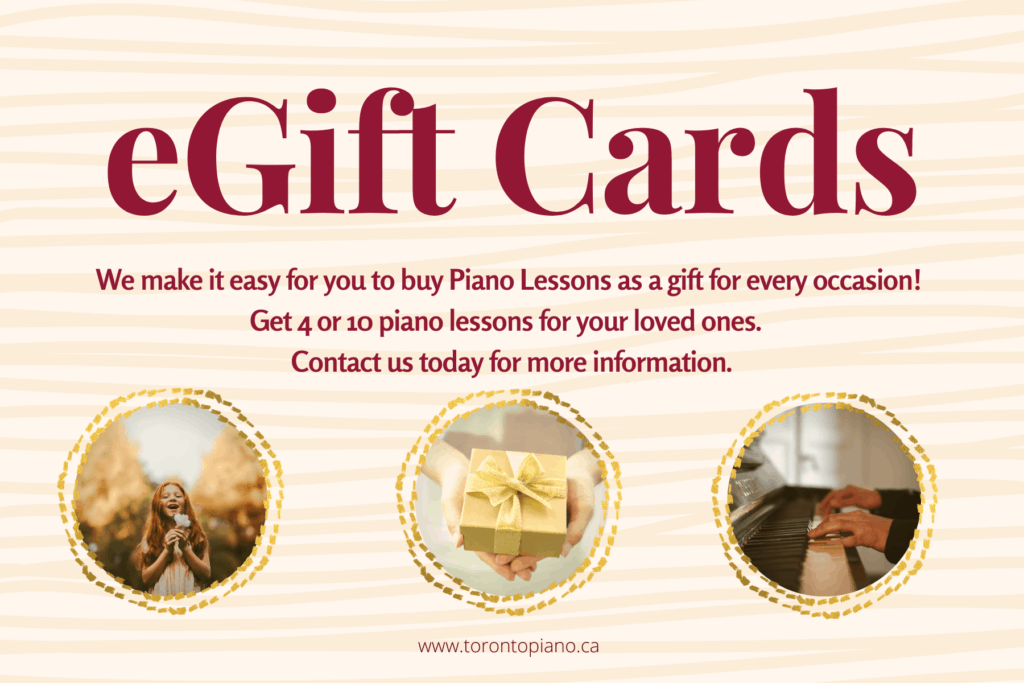 Midtown Toronto Piano Studio is offering Gift Cards for piano lessons